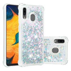 Dynamic Liquid Glitter Sand Quicksand Star TPU Case for Samsung Galaxy A20 - Silver