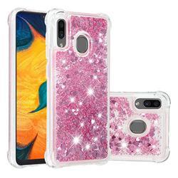 Dynamic Liquid Glitter Sand Quicksand Star TPU Case for Samsung Galaxy A20 - Diamond Rose