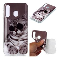 Kitten with Sunglasses Soft TPU Cell Phone Back Cover for Samsung Galaxy A20
