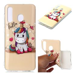 Hello Unicorn Soft TPU Cell Phone Back Cover for Samsung Galaxy A20