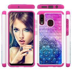 Colored Mandala Studded Rhinestone Bling Diamond Shock Absorbing Hybrid Defender Rugged Phone Case Cover for Samsung Galaxy A20
