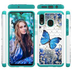 Flower Butterfly Studded Rhinestone Bling Diamond Shock Absorbing Hybrid Defender Rugged Phone Case Cover for Samsung Galaxy A20