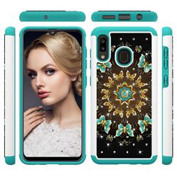Golden Butterflies Studded Rhinestone Bling Diamond Shock Absorbing Hybrid Defender Rugged Phone Case Cover for Samsung Galaxy A20