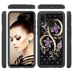 Peacock Flower Studded Rhinestone Bling Diamond Shock Absorbing Hybrid Defender Rugged Phone Case Cover for Samsung Galaxy A20