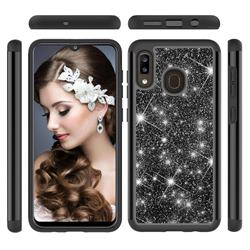 Glitter Rhinestone Bling Shock Absorbing Hybrid Defender Rugged Phone Case Cover for Samsung Galaxy A20 - Black