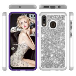 Glitter Rhinestone Bling Shock Absorbing Hybrid Defender Rugged Phone Case Cover for Samsung Galaxy A20 - Gray