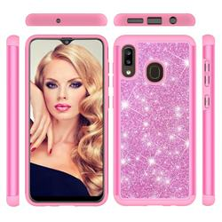 Glitter Rhinestone Bling Shock Absorbing Hybrid Defender Rugged Phone Case Cover for Samsung Galaxy A20 - Pink