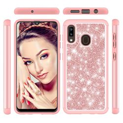 Glitter Rhinestone Bling Shock Absorbing Hybrid Defender Rugged Phone Case Cover for Samsung Galaxy A20 - Rose Gold