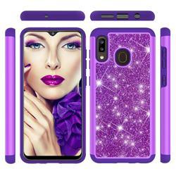 Glitter Rhinestone Bling Shock Absorbing Hybrid Defender Rugged Phone Case Cover for Samsung Galaxy A20 - Purple