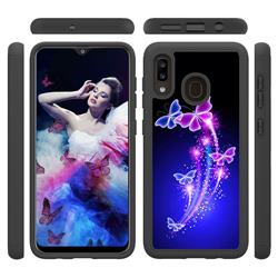 Dancing Butterflies Shock Absorbing Hybrid Defender Rugged Phone Case Cover for Samsung Galaxy A20