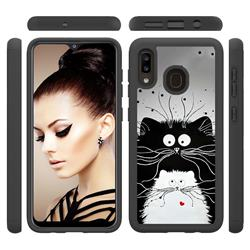 Black and White Cat Shock Absorbing Hybrid Defender Rugged Phone Case Cover for Samsung Galaxy A20