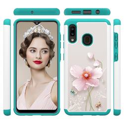 Pearl Flower Shock Absorbing Hybrid Defender Rugged Phone Case Cover for Samsung Galaxy A20