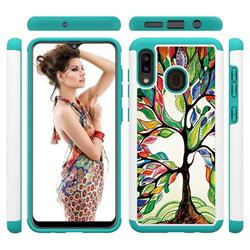 Multicolored Tree Shock Absorbing Hybrid Defender Rugged Phone Case Cover for Samsung Galaxy A20
