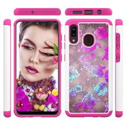 peony Flower Shock Absorbing Hybrid Defender Rugged Phone Case Cover for Samsung Galaxy A20
