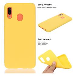 Soft Matte Silicone Phone Cover for Samsung Galaxy A20 - Yellow