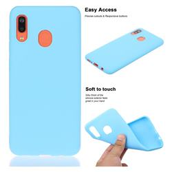 Soft Matte Silicone Phone Cover for Samsung Galaxy A20 - Sky Blue