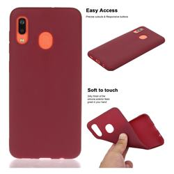 Soft Matte Silicone Phone Cover for Samsung Galaxy A20 - Wine Red