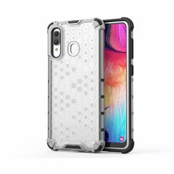 Honeycomb TPU + PC Hybrid Armor Shockproof Case Cover for Samsung Galaxy A20 - Transparent