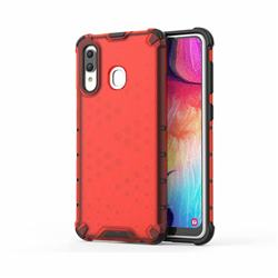 Honeycomb TPU + PC Hybrid Armor Shockproof Case Cover for Samsung Galaxy A20 - Red