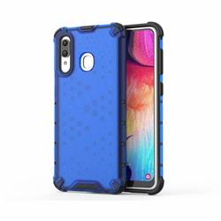 Honeycomb TPU + PC Hybrid Armor Shockproof Case Cover for Samsung Galaxy A20 - Blue