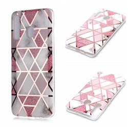 Pink Rhombus Galvanized Rose Gold Marble Phone Back Cover for Samsung Galaxy A20