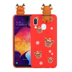 Elk Snowflakes Christmas Xmax Soft 3D Doll Silicone Case for Samsung Galaxy A20