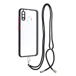 Necklace Cross-body Lanyard Strap Cord Phone Case Cover for Samsung Galaxy A20 - Black