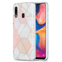 Pink White Marble Pattern Galvanized Electroplating Protective Case Cover for Samsung Galaxy A20