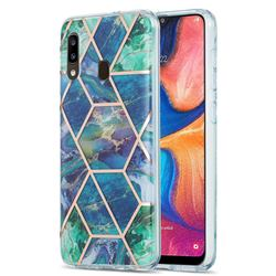 Blue Green Marble Pattern Galvanized Electroplating Protective Case Cover for Samsung Galaxy A20
