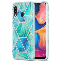 Green Glacier Marble Pattern Galvanized Electroplating Protective Case Cover for Samsung Galaxy A20