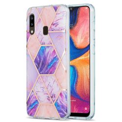 Purple Dream Marble Pattern Galvanized Electroplating Protective Case Cover for Samsung Galaxy A20
