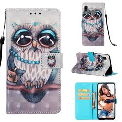Sweet Gray Owl 3D Painted Leather Wallet Case for Samsung Galaxy A20