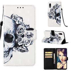 Skull Flower 3D Painted Leather Wallet Case for Samsung Galaxy A20