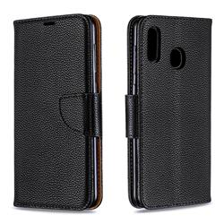 Classic Luxury Litchi Leather Phone Wallet Case for Samsung Galaxy A20 - Black