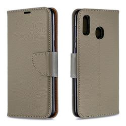Classic Luxury Litchi Leather Phone Wallet Case for Samsung Galaxy A20 - Gray