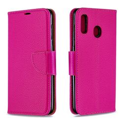 Classic Luxury Litchi Leather Phone Wallet Case for Samsung Galaxy A20 - Rose