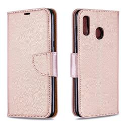 Classic Luxury Litchi Leather Phone Wallet Case for Samsung Galaxy A20 - Golden