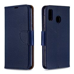 Classic Luxury Litchi Leather Phone Wallet Case for Samsung Galaxy A20 - Blue