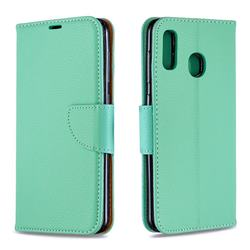 Classic Luxury Litchi Leather Phone Wallet Case for Samsung Galaxy A20 - Green