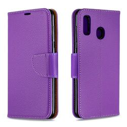 Classic Luxury Litchi Leather Phone Wallet Case for Samsung Galaxy A20 - Purple