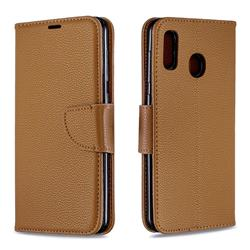 Classic Luxury Litchi Leather Phone Wallet Case for Samsung Galaxy A20 - Brown