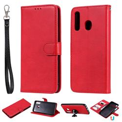 Retro Greek Detachable Magnetic PU Leather Wallet Phone Case for Samsung Galaxy A20 - Red