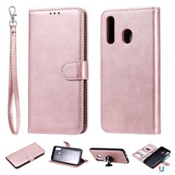 Retro Greek Detachable Magnetic PU Leather Wallet Phone Case for Samsung Galaxy A20 - Rose Gold