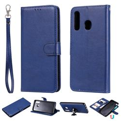Retro Greek Detachable Magnetic PU Leather Wallet Phone Case for Samsung Galaxy A20 - Blue