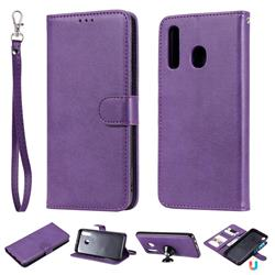 Retro Greek Detachable Magnetic PU Leather Wallet Phone Case for Samsung Galaxy A20 - Purple