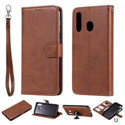 Retro Greek Detachable Magnetic PU Leather Wallet Phone Case for Samsung Galaxy A20 - Brown