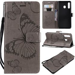 Embossing 3D Butterfly Leather Wallet Case for Samsung Galaxy A20 - Gray
