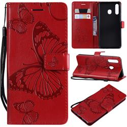 Embossing 3D Butterfly Leather Wallet Case for Samsung Galaxy A20 - Red