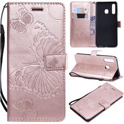 Embossing 3D Butterfly Leather Wallet Case for Samsung Galaxy A20 - Rose Gold