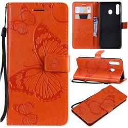 Embossing 3D Butterfly Leather Wallet Case for Samsung Galaxy A20 - Orange